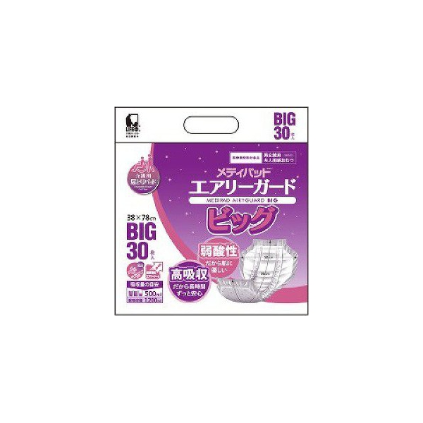【代引不可】近澤製紙所:メディパッド エアリーガードビッグ BIG30枚入り×4袋