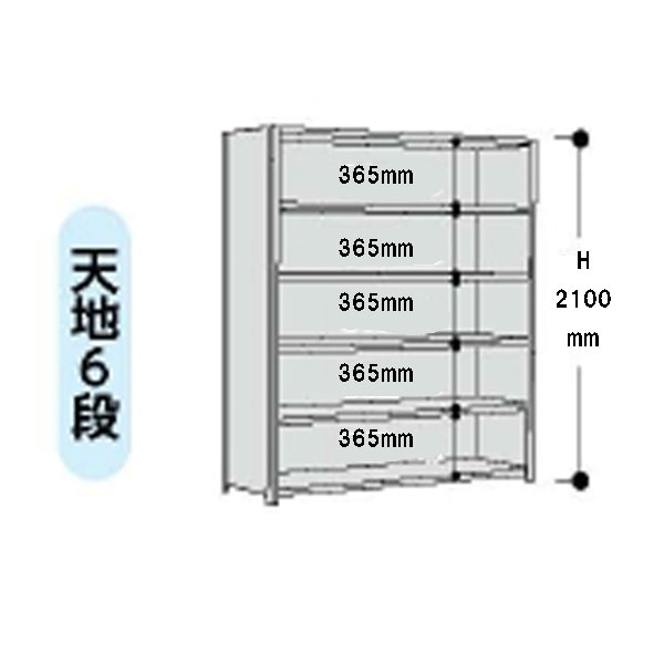 【代引不可】山金工業:YamaTec ボルト式軽量ラック 3方パネル付 12S7360P-6W