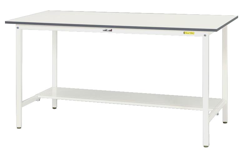 【代引不可】【法人限定】山金工業:YamaTec ワークテーブル150シリーズ 固定式H950mm 半面棚板付 SUPH-1845T-WW