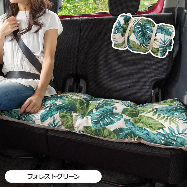 ロングシートクッションのご紹介です 車の後部座席にちょうどいい45cm×120cm 2020 気分によって使い分けできるリバーシブル ハワイアンリーフ柄 シートクッション クーポン配布中 ロングシートクッション 日本製 おしゃれ 45×120cm かわいい 座布団 アウトレット 長座布団