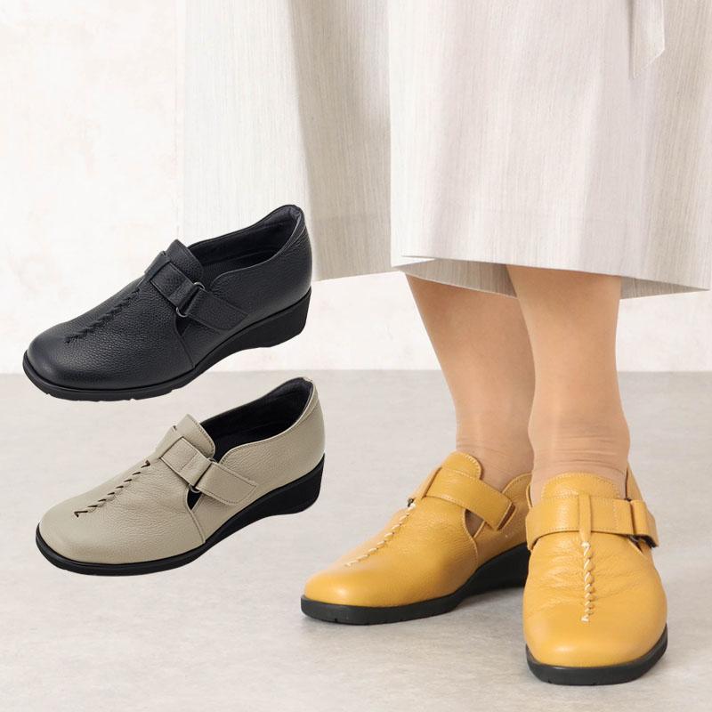 本革レザー スクエアトゥ カジュアルベルトシューズ (シニアファッション 60代 70代 80代 高齢者 靴 老人 ミセス 女性 レディース 婦人 おばあちゃん 祖母)