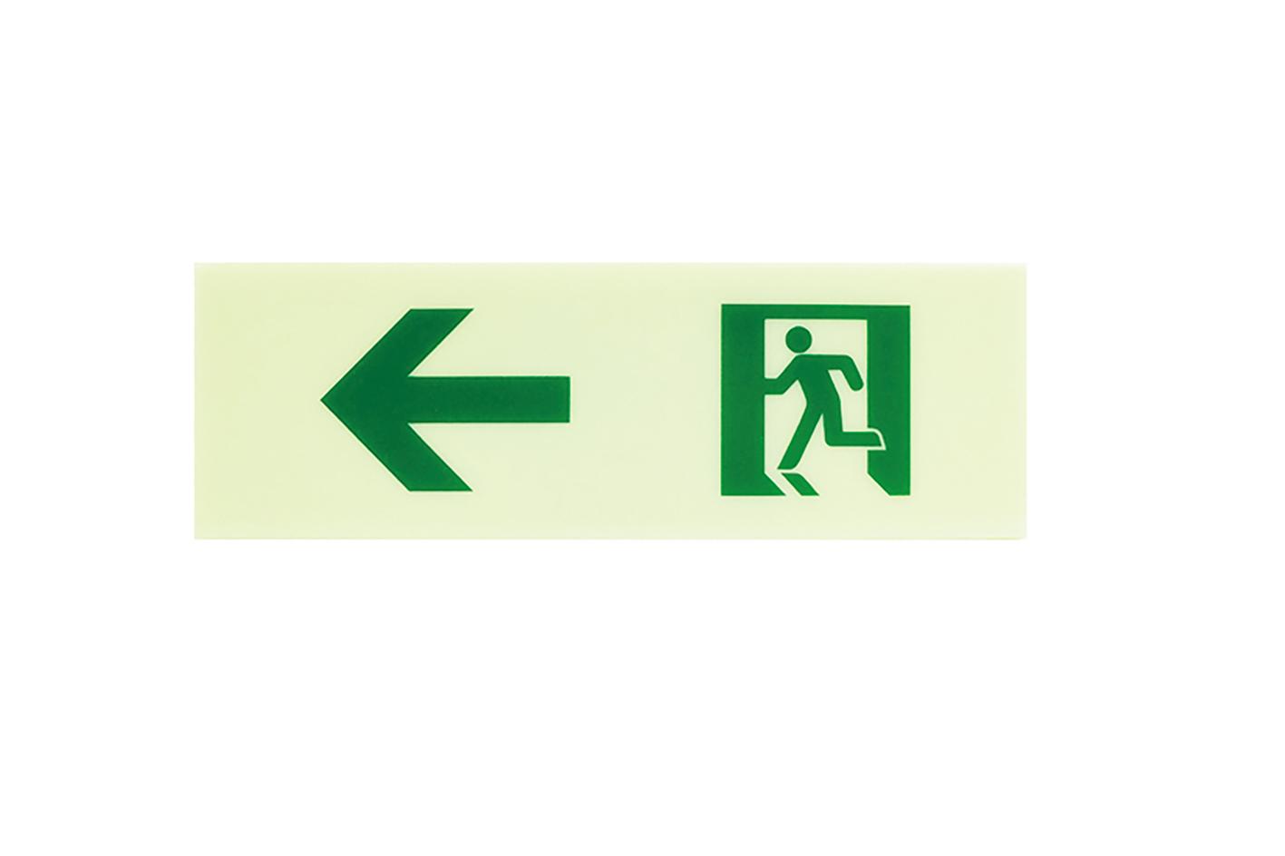 ルナウェアセーフティーサイン床用 避難方向明示物左矢印 高輝度蓄光式避難誘導標識 東京消防庁規格適合品 地下通路安全対策 床施工誘導標識 地下通路停電対策 タイの洞窟救出ルナウェア