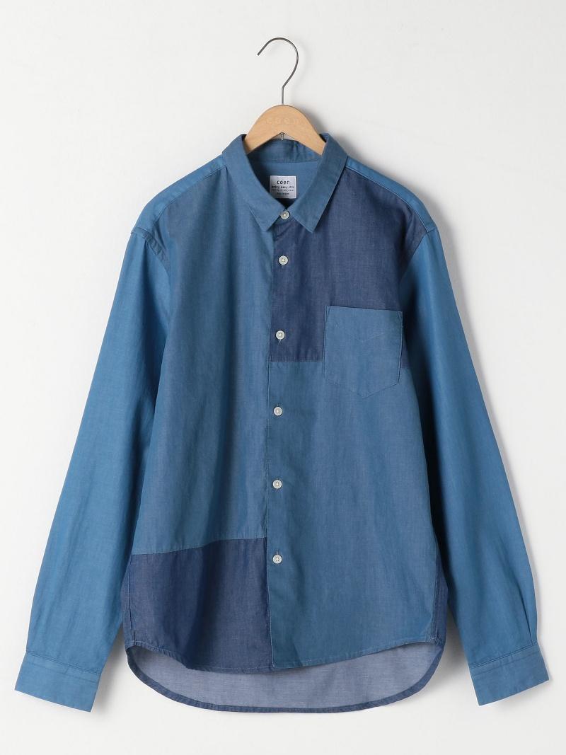 cc1efe74a71e28 [Rakuten BRAND AVENUE] block reshuffling regular colored shirt Cohen shirt  / blouse