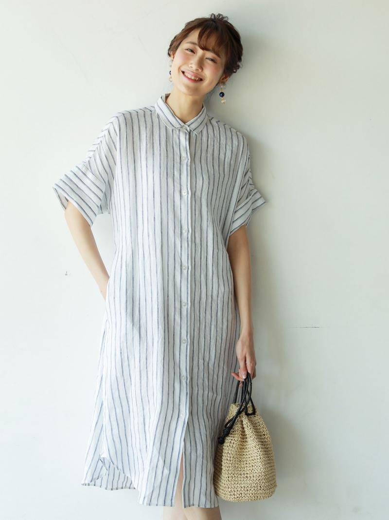 adefb578798  Rakuten BRAND AVENUE  French linen stripe shirt-dress coen Cohen dress