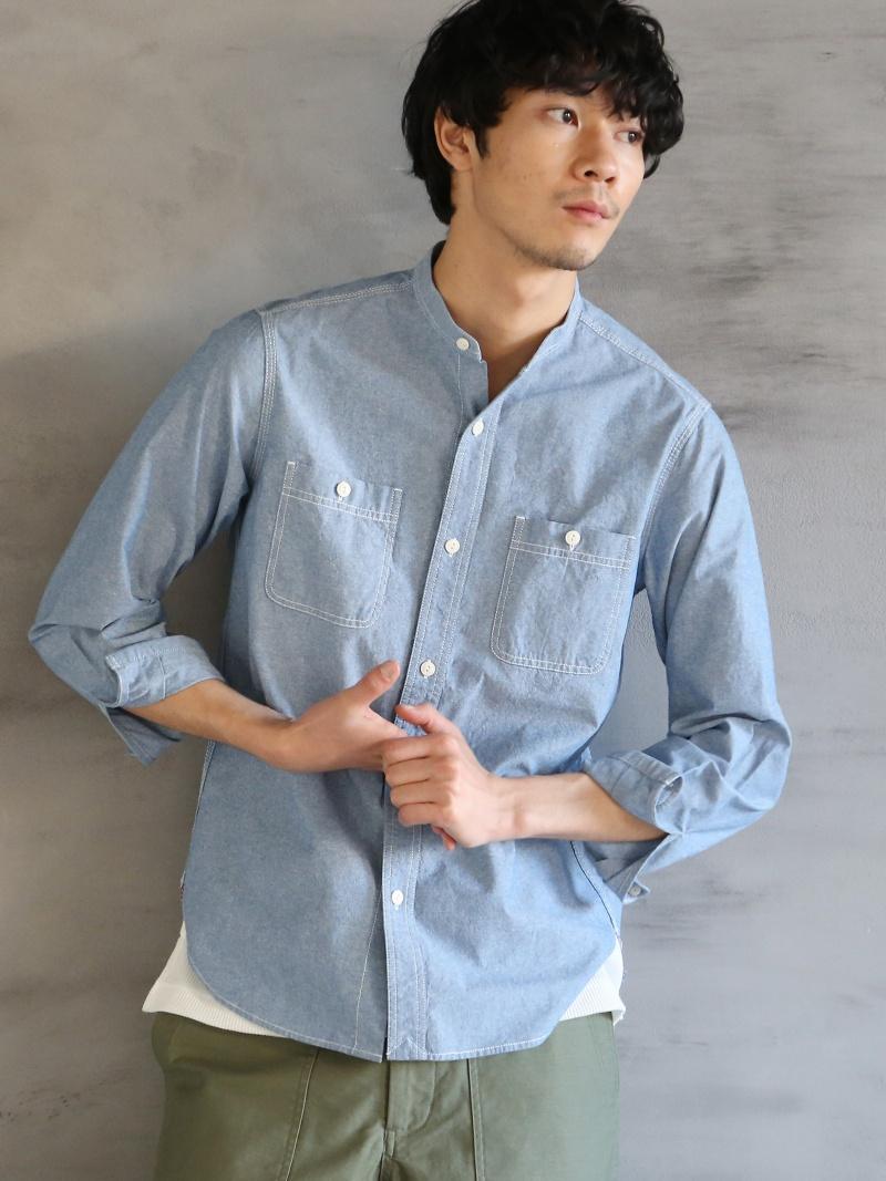 c2d8ebff316894 [Rakuten BRAND AVENUE] chambray band collar shirt Cohen shirt / blouse ...