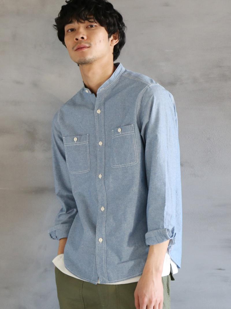 0cf630cc7ebd33 ... [Rakuten BRAND AVENUE] chambray band collar shirt Cohen shirt / blouse  ...