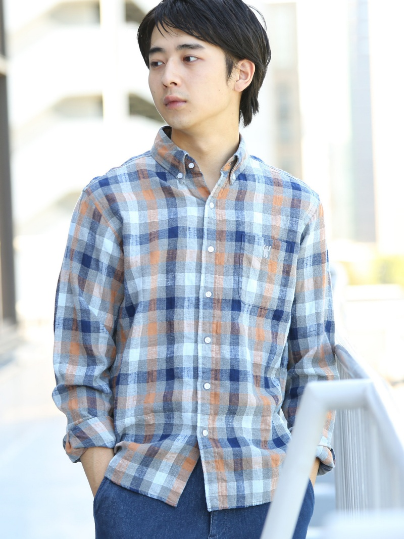 6e37105acf4333 [Rakuten BRAND AVENUE] winter linen check button-down shirt Cohen shirt /  blouse *