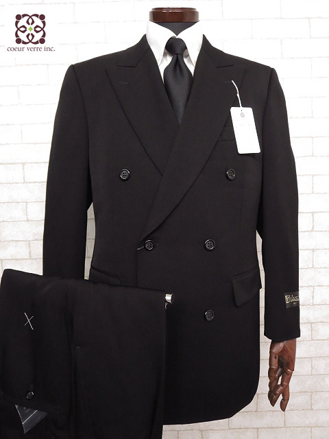 未使用 【ヴァレンチノルウディ Valentino Rudy】 スーツ (メンズ) 礼服 アジャスター付 黒無地 ダブル 【sizeA-8】 品番8801 □A3S855□ 【中古】