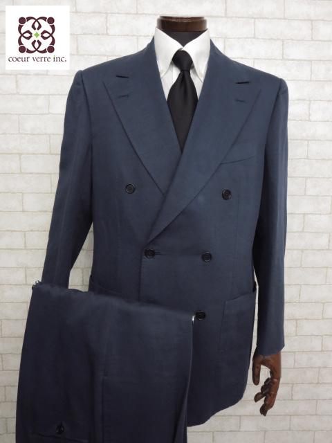 美品 【キートン キトン Kiton】 コットンリネン素材 ダブル 2ボタン スーツ (メンズ) ネイビー size50 ピークドラペル    ◯MS1924◯ 【中古】