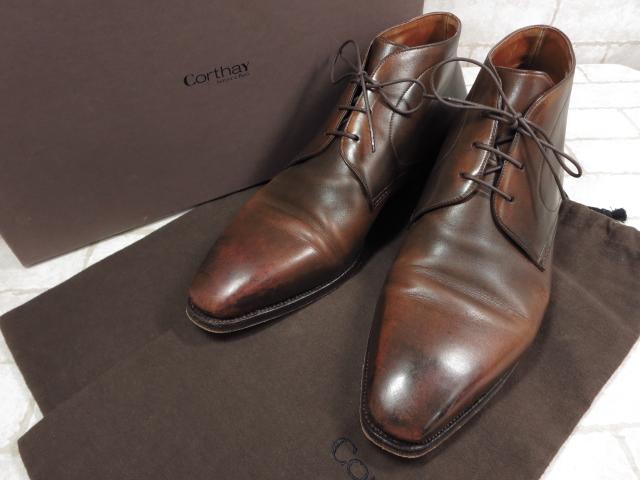 美品 【コルテ Corthay】 チャッカブーツ ドレスシューズ (メンズ) size8 ブラウン プレーントゥ 紳士靴     ◯MZ3073◯ 【中古】