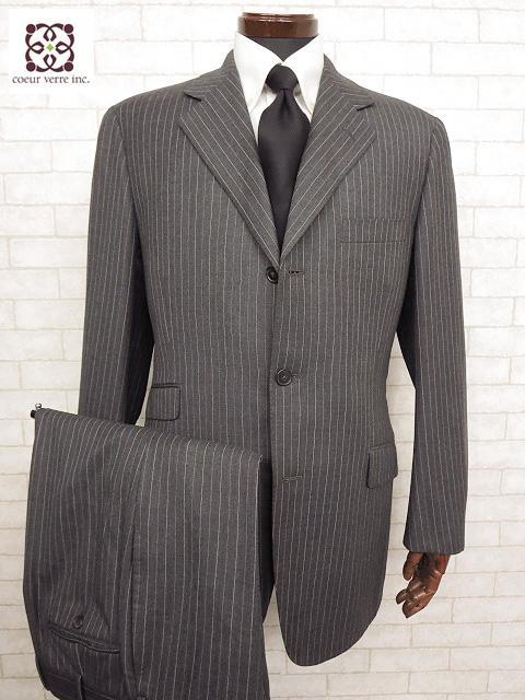 超美品 【エルメス HERMES】 最高級生地 ストライプ柄スーツ (メンズ) size50 チャコールグレー □MS1558□ 【中古】