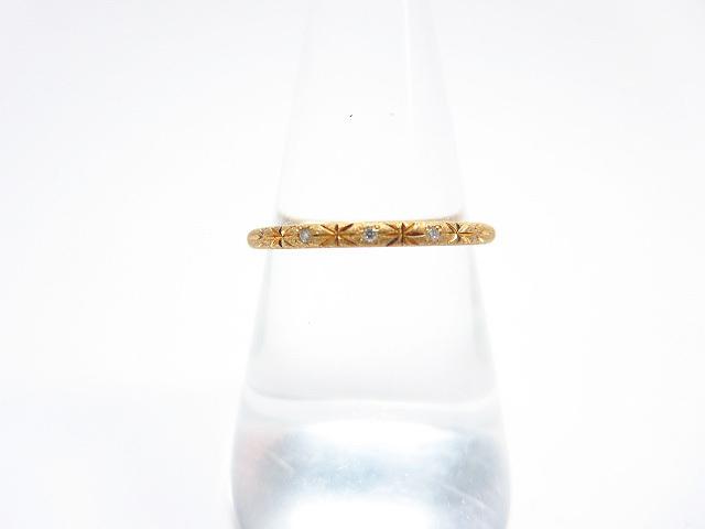 超美品 【アーカー AHKAH】DUNE BOND ダイヤリング 指輪 K18YG 2.0g (レディース) 12号 ギャランティー付き  ★CC0255★ 【中古】