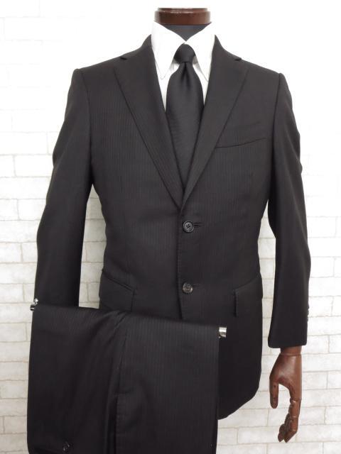 美品 【ポールスチュアート Paul Stuart】 ロロピアーナ生地 ストライプ柄 シングル スーツ (メンズ) ブラック size44R ◯MS2036◯ 【中古】