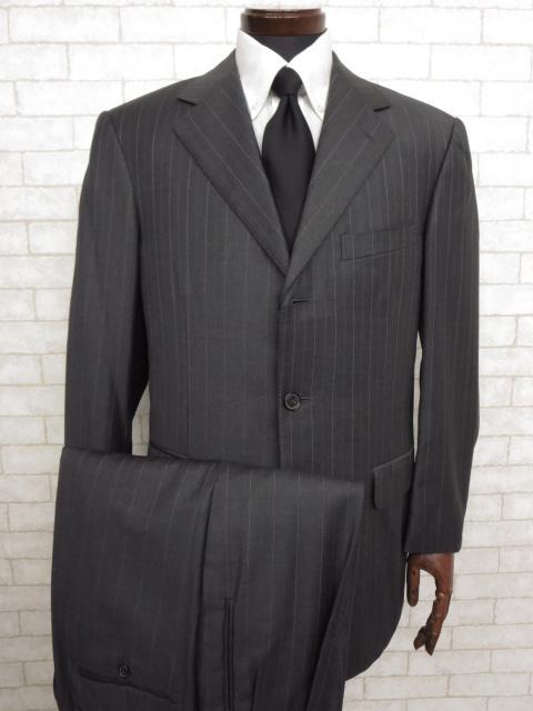 【エルメネジルドゼニア Ermenegildo Zegna】 TROFEO 3ボタン ストライプ柄 スーツ (メンズ) チャコールグレー size48  ◯MS2058◯【中古】
