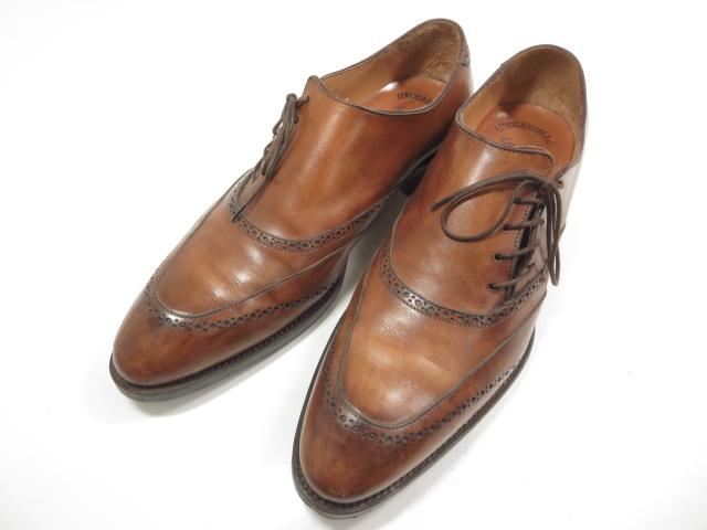 【メッカリエロ meccariello】 メダリオン Uチップ サイドレース 高級レザーシューズ (メンズ) ブラウン size9.5 紳士靴 革靴 ★MZ3918★ 【中古】