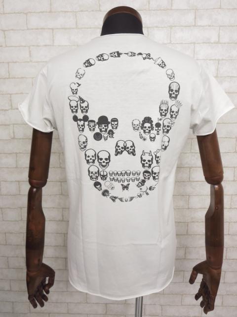 美品 【ルシアンペラフィネ lucien pellat-finet】Vネック 半袖Tシャツ (メンズ) sizeS スカルプリント♪   ◯MT0931◯【中古】