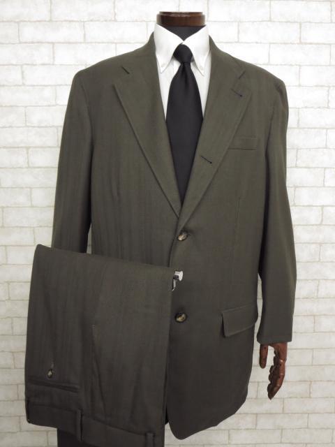 超美品 【VERSACE ヴェルサーチ】3ボタン 織柄シングルスーツ (メンズ) カーキ size54   ◯MS2115◯ 【中古】