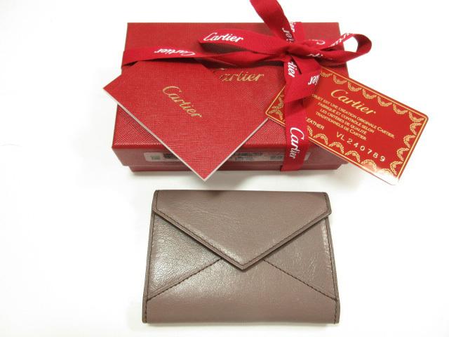 未使用 【カルティエ Cartier】 レザー 小銭入れ コインケース (レディース) ブラウン系 プレゼントにもおすすめです♪ ★LE1953★ 【中古】