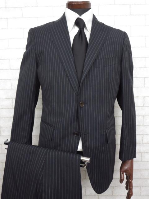 K 超美品 【スーツカンパニー THE SUIT COMPANY】 シルク混 ストライプ柄 シングル スーツ (メンズ) ネイビー 170cm-6Drop ◇MS2245◇ 【中古】