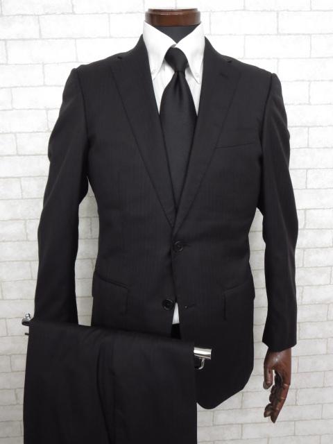 K 美品 【シップス SHIPS】 ロロピアーナ生地 シルク混 ストライプ柄 シングル スーツ (メンズ) ブラック size44 ◇MS2249◇ 【中古】