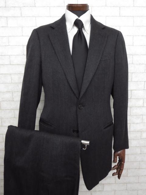 K 超美品 【ジョルジオアルマーニ GIORGIO ARMANI】 最高級 黒ラベル 織柄 ウール シングル スーツ (メンズ) グレー size48 ◇MS2257◇【中古】