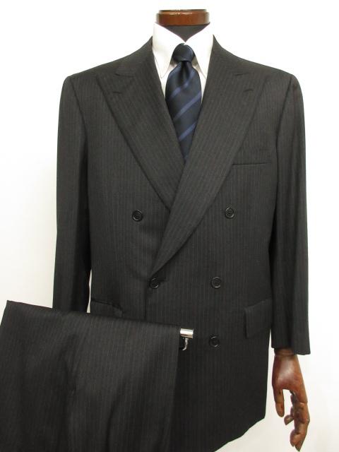 最高級 【ブリオーニ Brioni】 6ボタンダブルブレスト 正統派 ストライプ柄スーツ (メンズ) チャコールグレー size52C  ★MS3105★ 【中古】