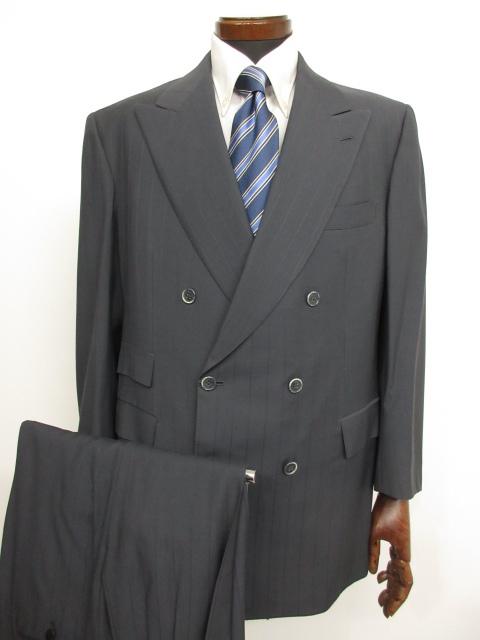 美品 【ブリオーニ Brioni】 deLisi FINISSIMO PRATO ストライプ柄 ウール ダブル スーツ (メンズ) グレー系 size52 ★MS3103★ 【中古】