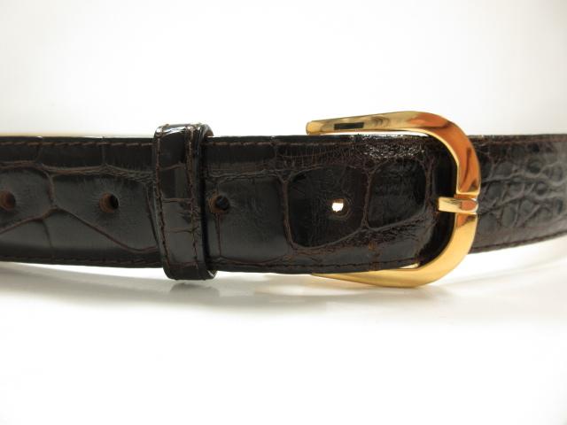 美品 【バリー BALLY】 高級 クロコダイル レザー ベルト (メンズ) ダークブラウン×ゴールド size120/105 42  ★ME2238★