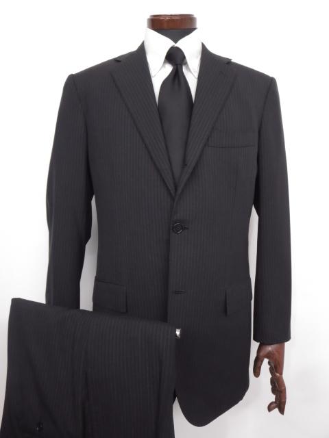 超美品 【キートン キトン Kiton】 ストライプ柄 ウール シングル スーツ (メンズ) ブラック×ネイビー size48 リデア取扱 ◇MS2380◇ 【中古】