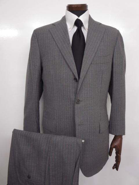 超美品【チェザーレアットリーニ Cesare Attolini】最高級ストライプ柄 スーツ (メンズ) size48 グレー ◇MS2418◇【中古】