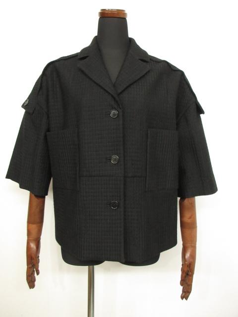 未使用 【マルニ MARNI】 3つボタン 織柄 半袖 ジャケット ブルゾン (レディース) ブラック size40 リネン混 イタリア製  ★3LB1239★【中古】