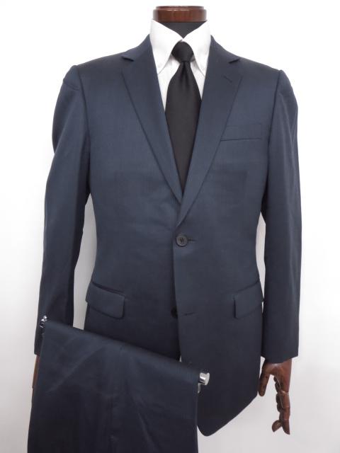 美品 【カルバンクライン Calvin Klein】 微光沢 ストライプ柄 ウール シングル スーツ (メンズ) ネイビー ◇MS2402◇【中古】