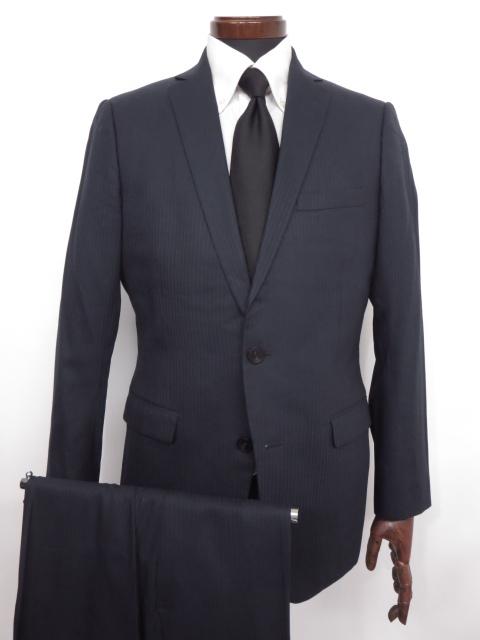 【カルバンクライン Calvin Klein】 シルク混 ストライプ柄 ウール シングル スーツ (メンズ) ネイビー ◇MS2405◇ 【中古】