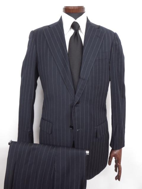 【ラファエルカルーゾ Raffaele Caruso ビームスF】 ストライプ柄 ウール シングル スーツ (メンズ) ネイビー size44 ◇MS2399◇ 【中古】