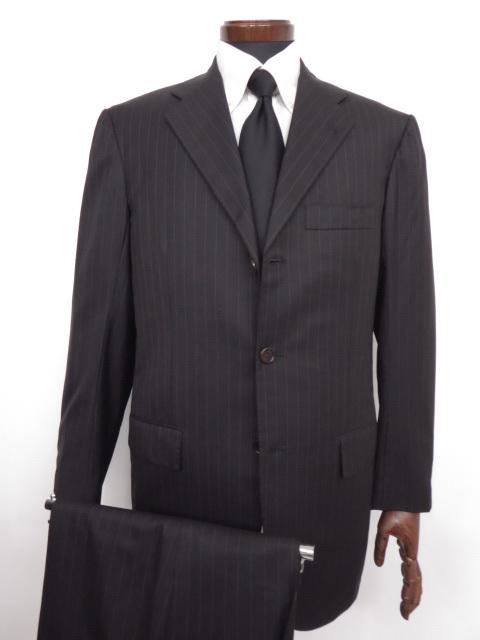 超美品 【キートン KITON】最高級BLANC BLU SUPER180's ストライプ柄 シングルスーツ (メンズ) size48 ブラック ◇MS2447◇ 【中古】