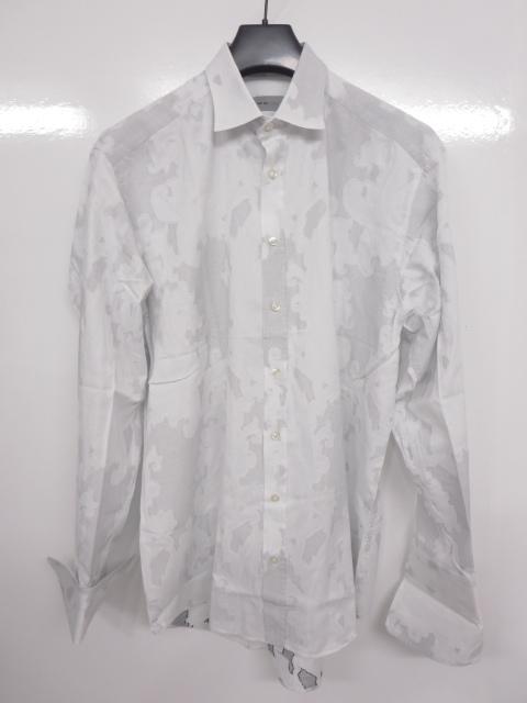 超美品 【エトロ ETRO】高級 ドレスシャツ (メンズ) ペイズリー刺しゅう柄 size42 イタリア製   ◇MK2575◇【中古】