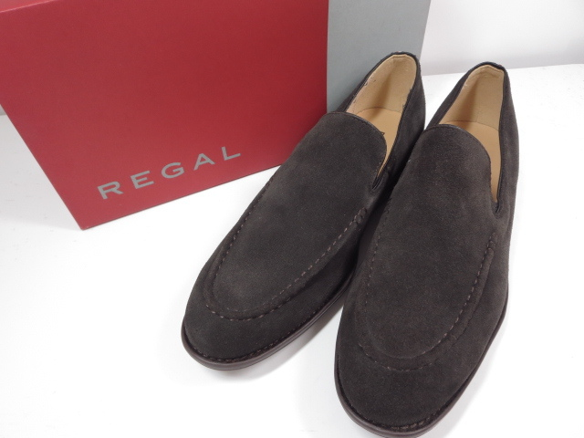 未使用 【リーガル REGAL】スエード スリッポン ローファー (メンズ) ブラウン size25.5 紳士靴  ◇MZ3537◇ 【中古】