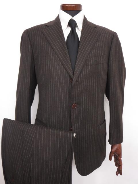 超美品 【エリーゴ Eligo】 ナポリ Super120's ストライプ シングル スーツ (メンズ) size50 ブラウン バーニーズニューヨーク ◇MS2497◇【中古】