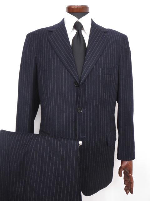 超美品 【ブランキーニ Stefano Branchini】 希少 ストライプ柄 ウール シングル スーツ (メンズ) size48 ネイビー バーニーズ ◇MS2489【中古】