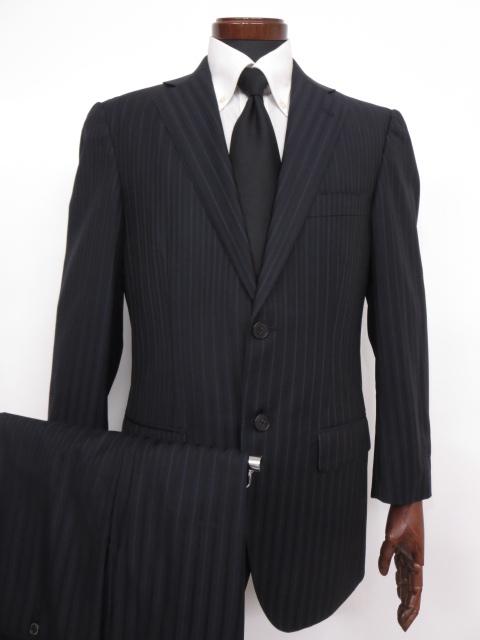 超美品 【ベルベスト Belvest】 Super140's ストライプ柄 ウール シングル スーツ (メンズ) size48 ネイビー バーニーズ ◇MS2484◇ 【中古】
