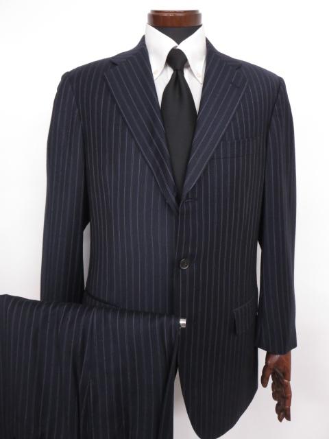 超美品 【ベルベスト Belvest】 3ボタン SUPER120's ストライプ柄スーツ (メンズ) size48 ネイビー   ◇MS2474◇ 【中古】