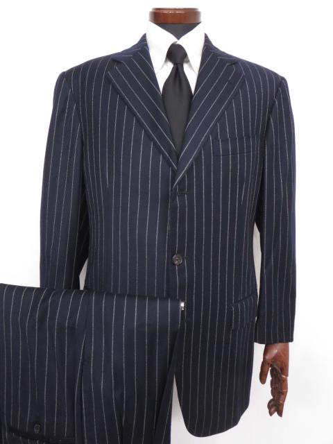 超美品 【ベルベスト Belvest】3ボタン SUPER110's スーツ (メンズ) 無地 ネイビー size50  ◇MS2467◇【中古】