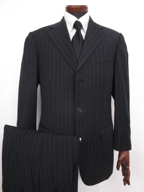 超美品 【ベルベスト Belvest】 3ボタン SUPER130's ストライプ柄スーツ (メンズ) size48 黒   ◇MS2470◇【中古】