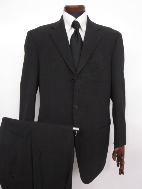 美品 【ヒューゴボス HUGO BOSS】 織柄 ウール素材 シングル スーツ (メンズ) size48 チャコールグレー ◇MS2512◇ 【中古】