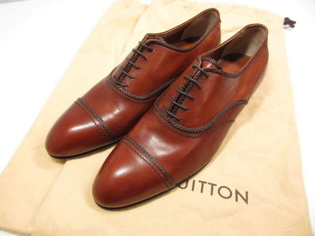 未使用 【ルイヴィトン Louis Vuitton】 高級 キャップトゥ レザー ドレスシューズ 革靴 (メンズ) ブラウン size7.5 伊製  ★HT537★ 【中古】