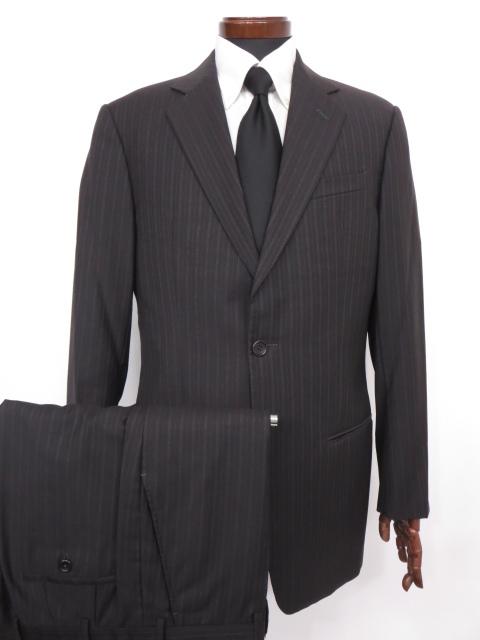 美品 【アルマーニコレツィオーニ ARMANI COLLEZIONI】 ストライプ柄 ウール シングル スーツ (メンズ) size50 チャコールグレー◇MS2522◇【中古】