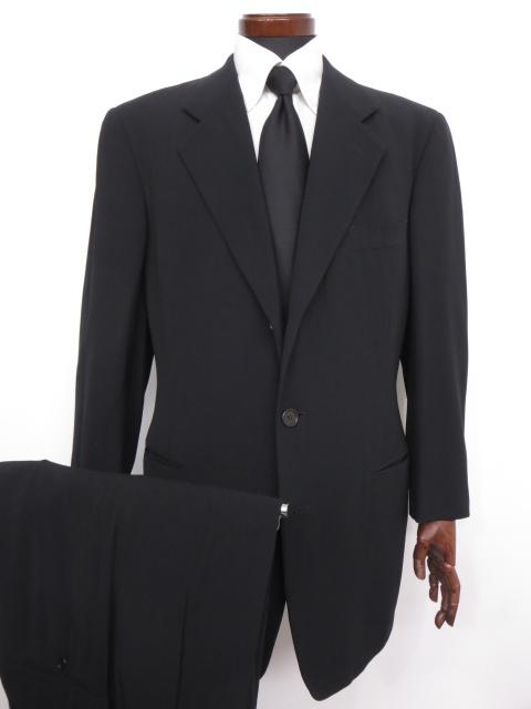 美品 【ジョルジオアルマーニ GIORGIO ARMANI】 シルク混 ストライプ柄 シングル スーツ (メンズ) ブラック size50 ◇MS2567◇【中古】