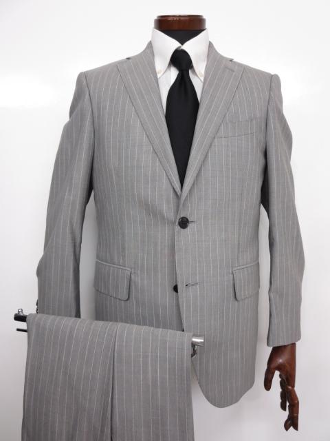 超美品 【スーツカンパニー THE SUIT COMPANY】 Super100's ストライプ シングル 2パンツ スーツ (メンズ) グレー 165cm-6Drop ◇MS2657◇【中古】