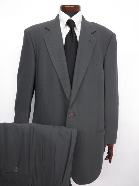 【ジョルジオアルマーニ GIORGIO ARMANI】 最高級 黒ラベル シルク混 織柄 シングル スーツ (メンズ) グレー size52 ◇MS2692◇ 【中古】