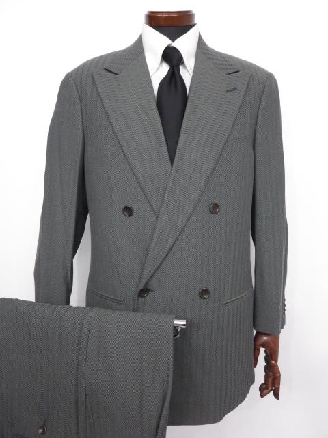 【アルマーニコレツィオーニ ARMANI COLLEZIONI】 ヘリンボーン柄 ダブル スーツ (メンズ) グレー size50R ◇MS2686◇【中古】